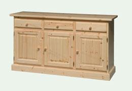 Credenza in legno massello di pino a 3 ante 3 cassetti for Subito it gorizia arredamento